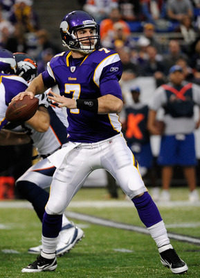MINNEAPOLIS, MN - DECEMBER 4: Christian Ponder #7 of the Minnesota Vikings looks to pass against the Denver Broncos on December 4, 2011 at Mall of America Field at the Hubert H. Humphrey Metrodome in Minneapolis, Minnesota. (Photo by Hannah Foslien/Getty