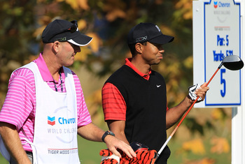Joe LaCava and Tiger Woods at Chevron World Challenge