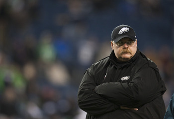 SEATTLE, WA - DECEMBER 1:  Head coach Andy Reid of the Philadelphia Eagles looks on before a game against the Seattle Seahawks at CenturyLink Field December 1, 2011 in Seattle, Washington. Seahawks won 31-14. (Photo by Jay Drowns/Getty Images)