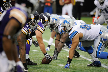 MINNEAPOLIS, MN - SEPTEMBER 25: The Minnesota Vikings line up against the Detroit Lions on September 25, 2011 at Hubert H. Humphrey Metrodome in Minneapolis, Minnesota. (Photo by Hannah Foslien/Getty Images)