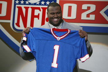NEW YORK - APRIL 20:   Mike Williams of Texas is the fourth player selected in the NFL draft by the Buffalo Bills at the Theatre in Madison Square Garden in New York City, New York on April 20, 2002..   Digital Image. (Photo by Al Bello/Getty Images)