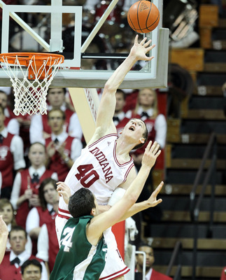 BLOOMINGTON, IN - DECEMBER 04:  Cody Zeller #40 of the Indiana Hoosiers blocks a shot during the game against the Stetson Hatters at Assembly Hall on December 4, 2011 in Bloomington, Indiana.  Indiana won 84-50.  (Photo by Andy Lyons/Getty Images)