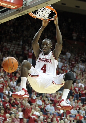 BLOOMINGTON, IN - DECEMBER 04:  Victor Oladipo #4 of the Indiana Hoosiers dunks the ball during the game against the Stetson Hatters at Assembly Hall on December 4, 2011 in Bloomington, Indiana.  (Photo by Andy Lyons/Getty Images)