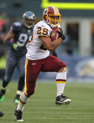 SEATTLE, WA - NOVEMBER 27:  Running back Roy Helu #29 of the Washington Redskins rushes against the Seattle Seahawks at CenturyLink Field on November 27, 2011 in Seattle, Washington. (Photo by Otto Greule Jr/Getty Images)