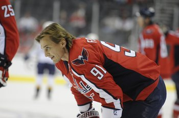 WASHINGTON - OCTOBER 28:  Sergei Fedorov #91 of the Washington Capitals warms up before the game against the Nashville Predators October 28, 2008 at the Verizon Center in Washington, D.C. The Capitals defeated the Predators 4-3 in shootout overtime.  (Pho