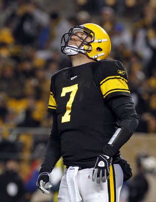 PITTSBURGH, PA - DECEMBER 8:   Ben Roethlisberger #7 of the Pittsburgh Steelers reacts after being sacked in the first half against the Cleveland Browns during the game on December 8, 2011 at Heinz Field in Pittsburgh, Pennsylvania.  (Photo by Justin K. A