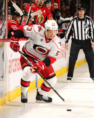 OTTAWA, ON - NOVEMBER 27:  Jeff Skinner #53 of the Carolina Hurricanes skates up the near boards with the puck in a game against the Ottawa Senators at Scotiabank Place on November 27, 2011 in Ottawa, Canada.  (Photo by Phillip MacCallum/Getty Images)
