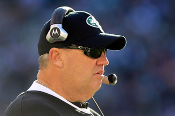 EAST RUTHERFORD, NJ - DECEMBER 11: Rex Ryan head coach of the New York Jets coaches from the sideline against the Kansas City Chiefs  at MetLife Stadium on December 11, 2011 in East Rutherford, New Jersey.  (Photo by Chris Trotman/Getty Images)