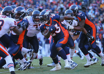 DENVER, CO - DECEMBER 11:  Willis McGahee #23 of the Denver Broncos carries the ball during the game against the Chicago Bears at Sports Authority Field at Mile High on December 11, 2011 in Denver, Colorado.  (Photo by Doug Pensinger/Getty Images)