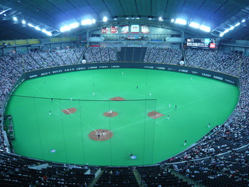 Yu's home field, the Sapporo Dome, in baseball configuration. (Photo by hfordsa)