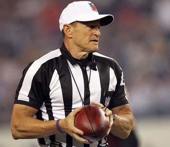 ARLINGTON, TX - SEPTEMBER 26:  NFL referee, Ed Hochuli #85 at Cowboys Stadium on September 26, 2011 in Arlington, Texas.  (Photo by Ronald Martinez/Getty Images)