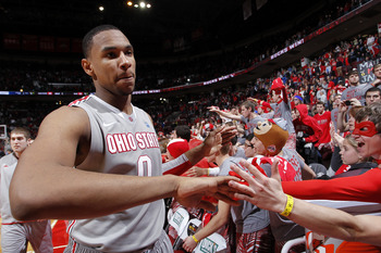 COLUMBUS, OH - NOVEMBER 29: Jared Sullinger #0 of the Ohio State Buckeyes celebrates with fans after the game against the Duke Blue Devils at Value City Arena on November 29, 2011 in Columbus, Ohio. Ohio State beat Duke 85-63. (Photo by Joe Robbins/Getty