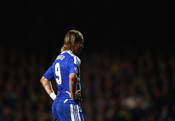LONDON, ENGLAND - OCTOBER 19:  Fernando Torres of Chelsea looks on during the UEFA Champions League Group E match between Chelsea and KRC Genk at Stamford Bridge on October 19, 2011 in London, England.  (Photo by Richard Heathcote/Getty Images)
