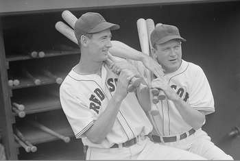Joe Cronin (right) and Ted Williams (left) formed the heart of a lineup that would have four future HOF members batting in a row.