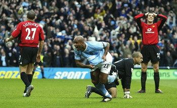 Trevor Sinclair scoring the third goal of City's 4-1 victory in 2004.