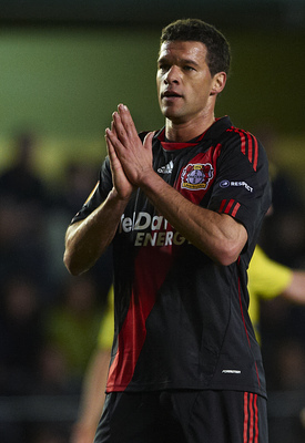 VILLAREAL, SPAIN - MARCH 17:  Michael Ballack of Bayer Leverkusen reacts during the UEFA Europa League round of 16 second leg match between Villarreal and Bayer Leverkusen at El Madrigal stadium on March 17, 2011 in Villareal, Spain. Villarreal won 2-1.
