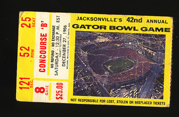 Ticket to the 1986 Gator Bowl game.