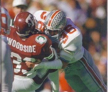 Ohio State LB Chris Spielman (No. 36) gave the Aggies nightmares.