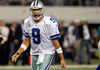 ARLINGTON, TX - DECEMBER 11:  Tony Romo #9 of the Dallas Cowboys reacts to an official's call against the New York Giants in the fourth quarter at Cowboys Stadium on December 11, 2011 in Arlington, Texas.  (Photo by Tom Pennington/Getty Images)