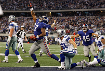 The Giants control the NFC East after a 37-34 victory over the Dallas Cowboys last week.