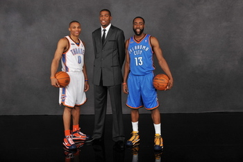 Russell Westbook and James Harden with Kevin Durant