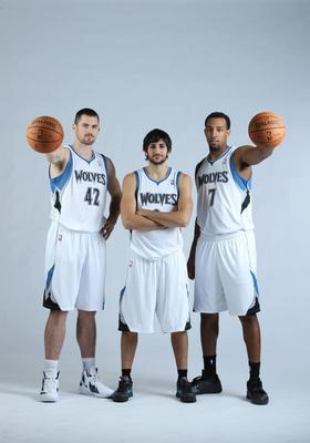 Kevin Love, Ricky Rubio and Derrick Williams