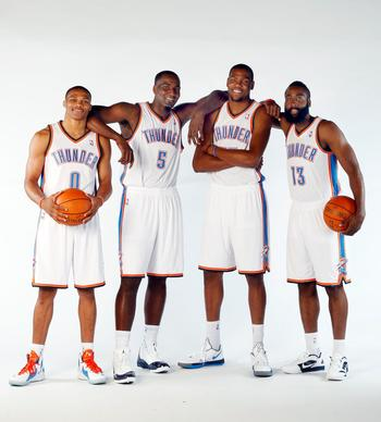 Russell Westbrook, Kendrick Perkins, Kevin Durant and James Harden