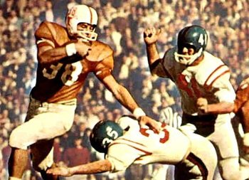 Texas' Jerry Cook (No. 38) intercepted two Mississippi passes.
