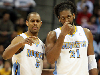 Arron Afflalo (6) and Nene (31) will be the Nuggets leaders on the court.