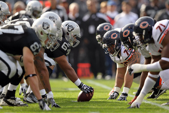 OAKLAND, CA - NOVEMBER 27:  The Oakland Raiders offense line up against the Chicago Bears at O.co Coliseum on November 27, 2011 in Oakland, California.  (Photo by Ezra Shaw/Getty Images)