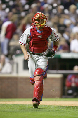 DENVER - APRIL 14:  Catcher Mike Lieberthal #24 of the Philadelphia Phillies runs on the field during the game against the Colorado Rockies at Coors Field on April 14, 2006 in Denver, Colorado. (Photo by: Doug Pensinger/Getty Images)