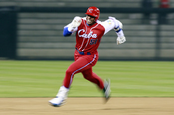 "Yoenis Cespedes. If you squint, the ""a"" in Cuba kind of looks like an ""s."""