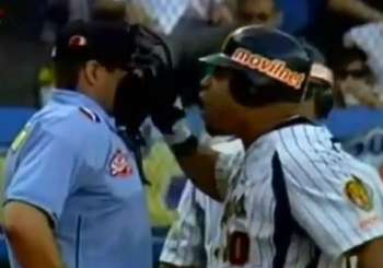 Yorvit Torrealba struck umpire Dario Rivero, Jr. during a Venezuelan League game on Friday