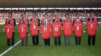 Members of the team honored in Middlesbrough in 2002
