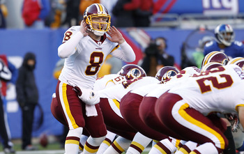 EAST RUTHERFORD, NJ - DECEMBER 18:  Rex Grossman #8 of the Washington Redskins calls a play during a game against the New York Giants at MetLife Stadium on December 18, 2011 in East Rutherford, New Jersey.  (Photo by Jeff Zelevansky/Getty Images)
