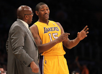 Mike Brown with Metta World Peace