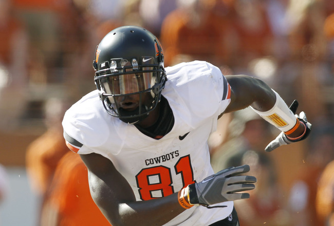 AUSTIN, TX - OCTOBER 15:  Wide receivers Justin Blackmon #81 of the Oklahoma State University Cowboys celebrates a second quarter touchdown against the University of Texas Longhorns on October 15, 2011 at Darrell K. Royal-Texas Memorial Stadium in Austin,
