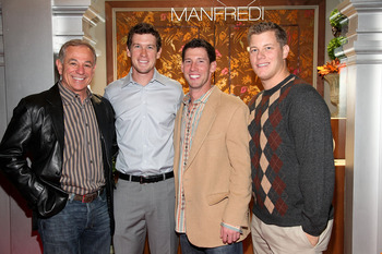 (L-R) Bobby Valentine, Kevin Slowey, Craig Breslow and Andrew Bailey meet up in Connecticut.