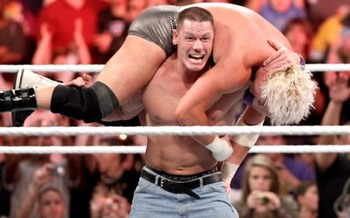 John Cena delivers an Attitude Adjustment to the brash Dolph Ziggler.