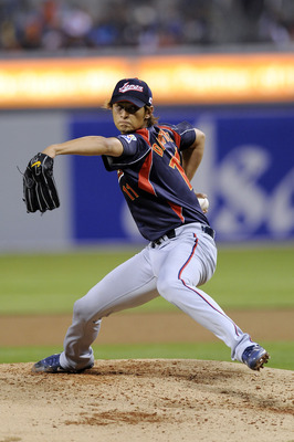 SAN DIEGO - MARCH 17:  Yu Darvish #11 of Japan pitches against Korea during the 2009 World Baseball Classic Round 2 Pool 1 Game 4 on March 17, 2009 at Petco Park in San Diego, California.  (Photo by Kevork Djansezian/Getty Images)