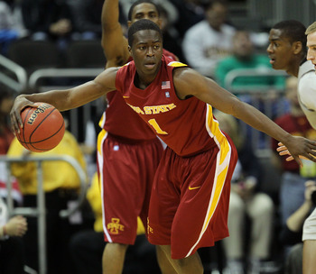 KANSAS CITY, MO - MARCH 09:  Bubu Palo #1 of the Iowa State Cyclones controls the ball against the Colorado Buffaloes during the first round of the 2011 Phillips 66 Big 12 Men's Basketball Tournament at Sprint Center on March 9, 2011 in Kansas City, Misso