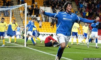 Sandaza wheels away after scoring v Kilmarnock