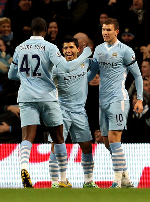 Sergio Aguero and co. celebrate City's first goal