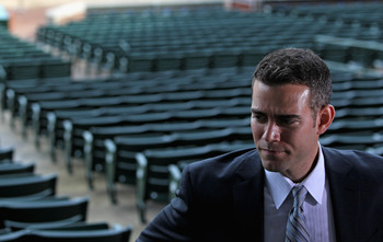 CHICAGO, IL - OCTOBER 25:  Theo Epstein, the new President of Baseball Operations for the Chicago Cubs, looks over Wrigley Field following a press conference on October 25, 2011 in Chicago, Illinois.  (Photo by Jonathan Daniel/Getty Images)