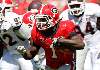 ATHENS, GA - OCTOBER 01:  Isaiah Crowell #1 of the Georgia Bulldogs against the Mississippi State Bulldogs at Sanford Stadium on October 1, 2011 in Athens, Georgia.  (Photo by Kevin C. Cox/Getty Images)