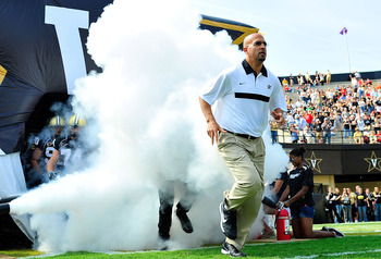 NASHVILLE, TN - SEPTEMBER 17:  Coach James Franklin of the Vanderbilt Commodores leads his team onto the field for a game against the Ole Miss Rebels at Vanderbilt Stadium on September 17, 2011 in Nashville, Tennessee.  (Photo by Grant Halverson/Getty Ima