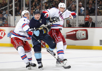 New York Rangers defensemen Michael Del Zotto (L) and Dan Girardi (R)