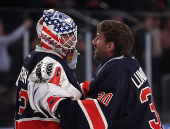 New York Rangers goaltenders Martin Biron (L) and Henrik Lundqvist (R)