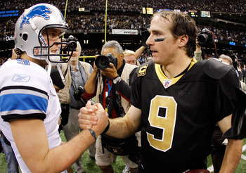 NEW ORLEANS, LA - JANUARY 07:   Matthew Stafford #9 of the Detroit Lions shakes hands with  Drew Brees #9 of the New Orleans Saints after their 2012 NFC Wild Card Playoff game at Mercedes-Benz Superdome on January 7, 2012 in New Orleans, Louisiana. The Sa