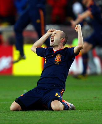 Andres Iniesta celebrates scoring the winner in the 2010 final